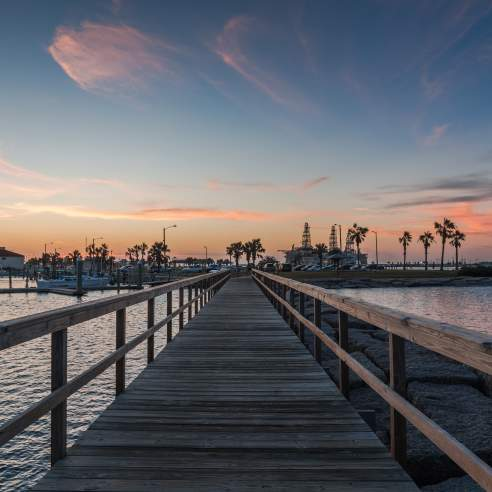 View from down a wooden boardwalk over water towards palm trees, boats, and buildings.