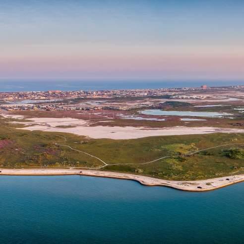 Aerial view of the Port Aransas coast