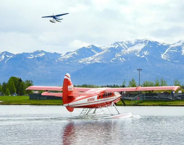 Rust's Flying Service float planes departs Lake Hood in Anchorage, Alaska.
