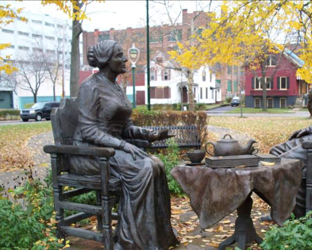 Let's Have Tea Statue With Susan B. Anthony & Frederick Douglass