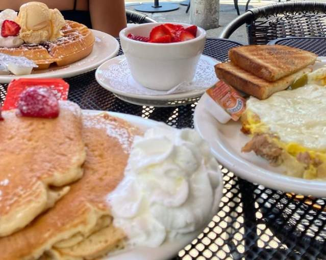 Pancakes, eggs and other breakfast food items at Jines