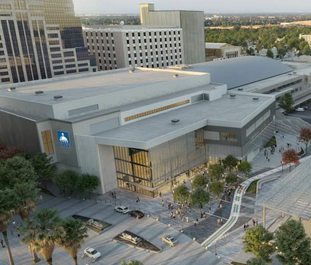 aerial rendering of the SAFE Credit Union Convention Center in Sacramento