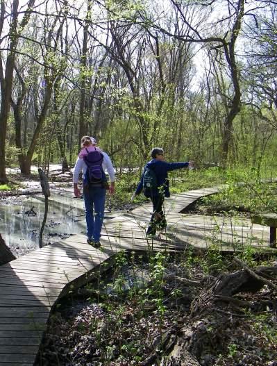 People walking on wooden walkway through Heard Museum wetlands