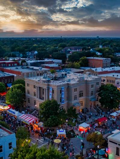 Downtown McKinney aerial shot during Oktoberfest