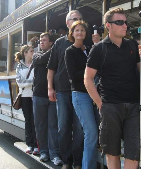 Riding a cable car