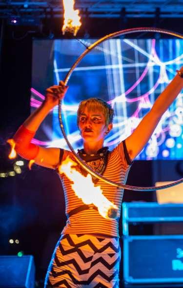 Fire dancer with hoop