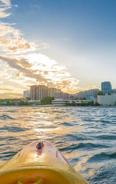 Sunset over downtown Madison from a kayaker's perspective