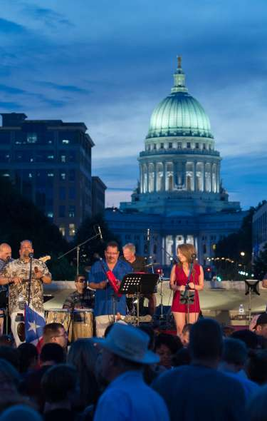 A Dane Dances concert with the State Capitol as a backdrop