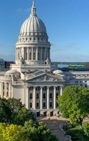 A panoramic view of the Wisconsin State Capitol