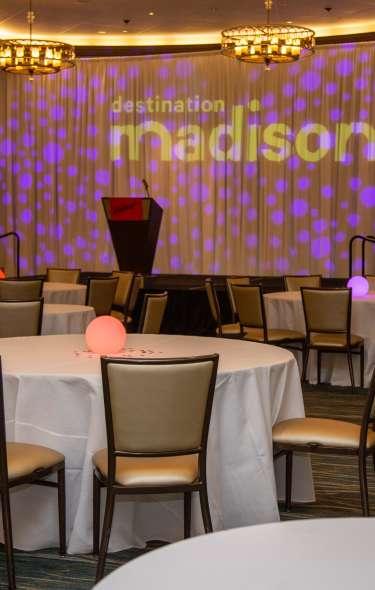 A meeting room setup for the Destination Madison Awards
