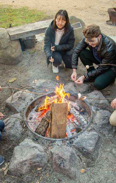 A group of college students gather around a campfire to roast marshmallows
