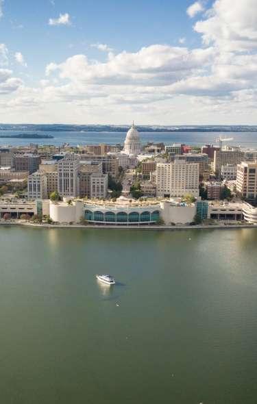Madison skyline aerial