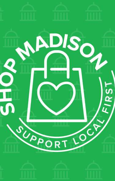 The Shop Madison logo on a green background with icons