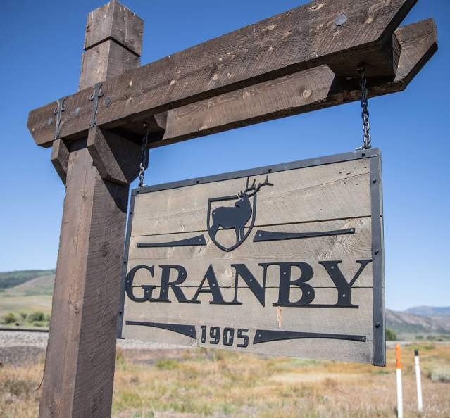 Sign at the entrance to Granby