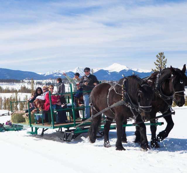 Horse drawn sleigh ride at Snow Mountain Ranch