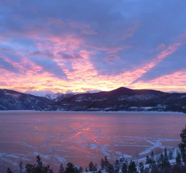 Sunrise view over Granby in winter
