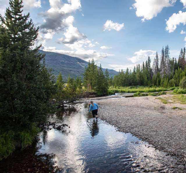 Walking in the Colorado River in Rocky Mountain National Park
