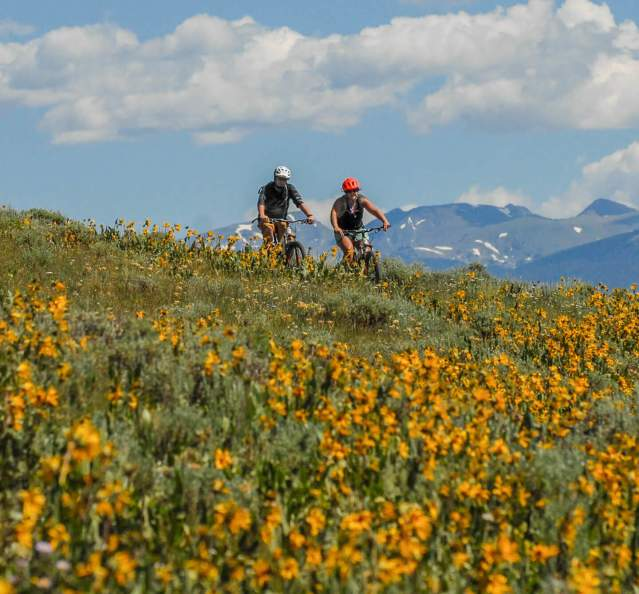 Couple mountain biking with mountains and wildflowers