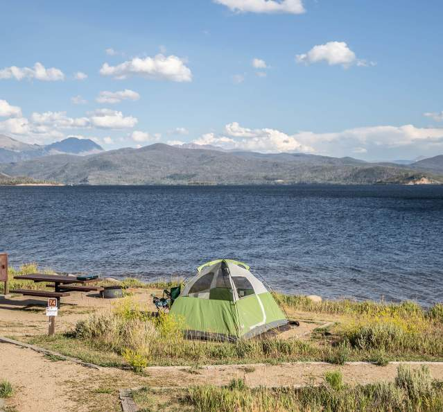 Tent camping on the shores of Lake Granby