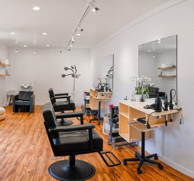 Interior of hair salon Root Salon