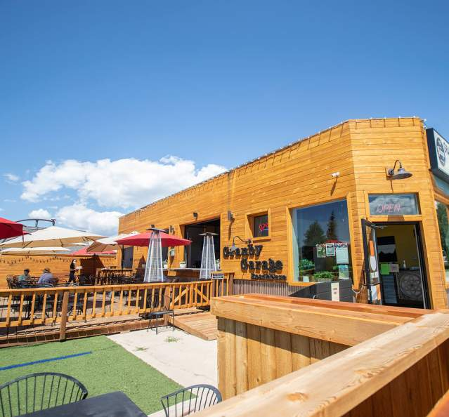 Outdoor dining at Granby Garage Roadhouse