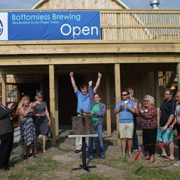 Image of Bottomless Brewing Ribbon Cutting