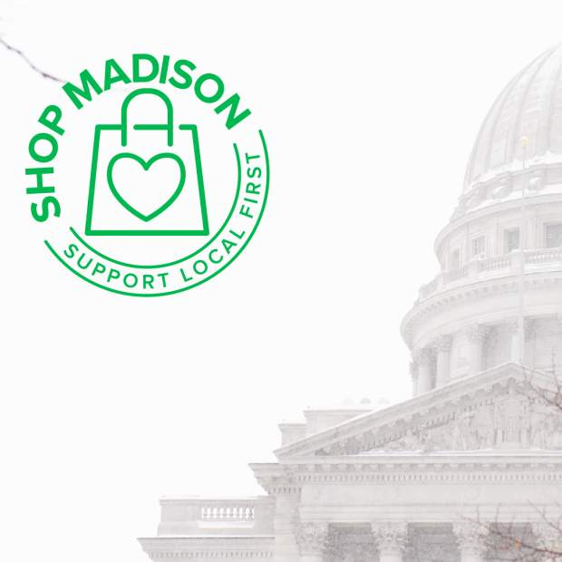 Zoom Background featuring the Shop Madison logo and capitol dome