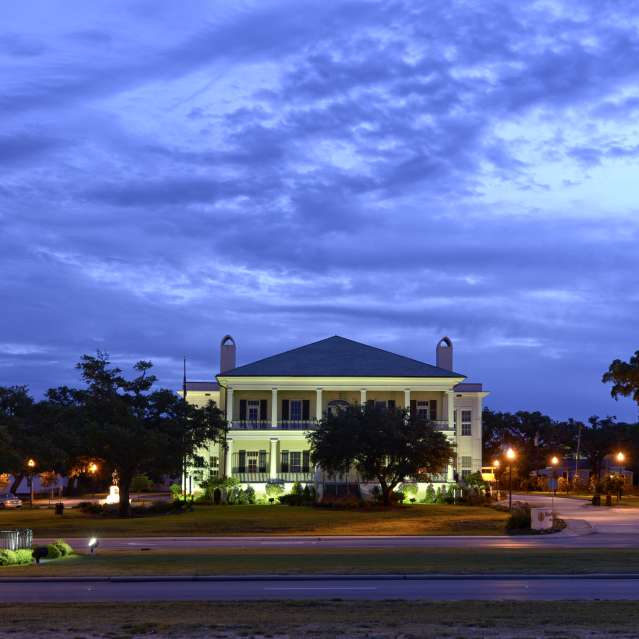 Biloxi Lighthouse & Visitors Center at Night