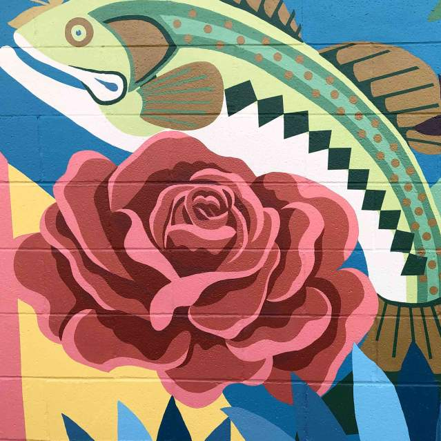 Mural with fish and roses