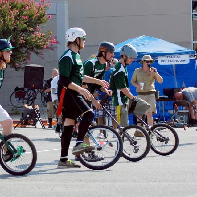 Unicycle football game kickoff