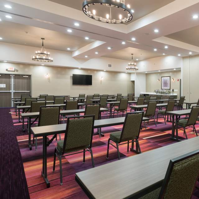 Hotel meeting room set up classroom style