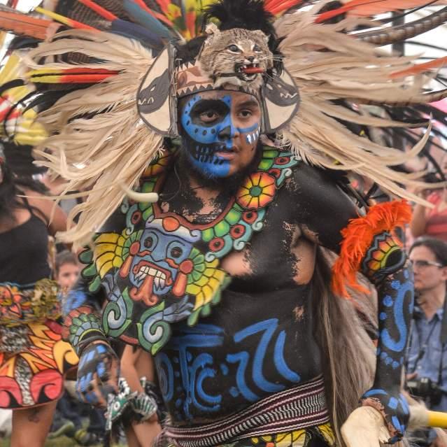 Ceremonial Native American dancers at Powwow