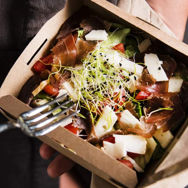 Fresh salad with deli meat and cheese