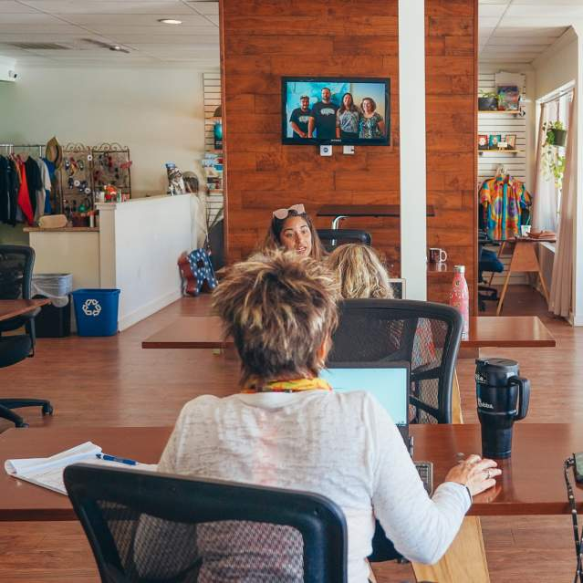 Coworking space with people working