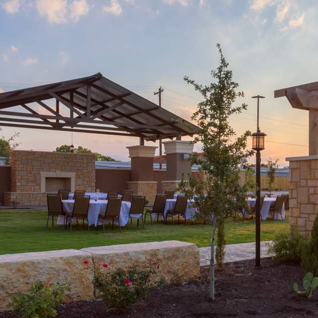 Outdoor pavillion with group event set up