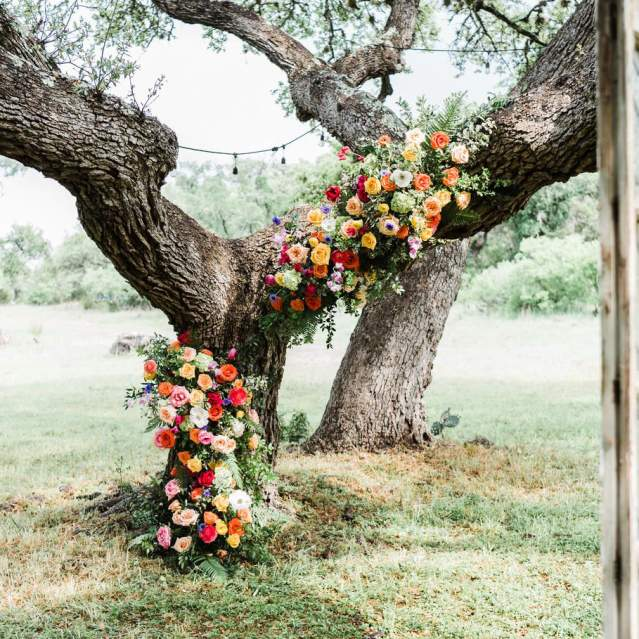 Wedding flowers and decorations outdoors