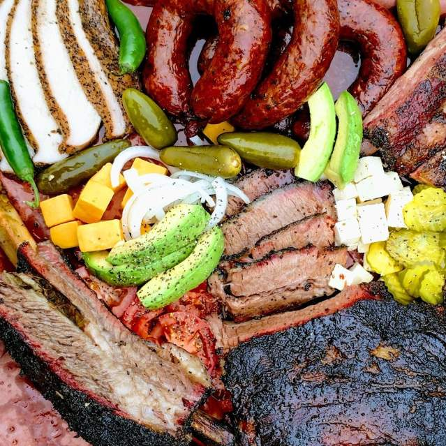 Giant platter of BBQ and all the fixings