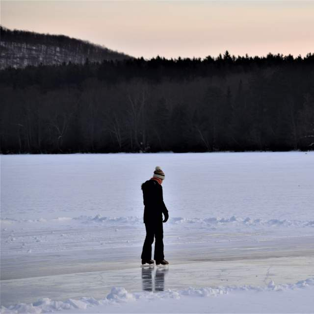 Couple Ice Skating at Skytop Lodge in the Poconos