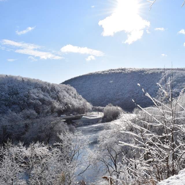 Snow covered trees and hills in the Pocono Mountains