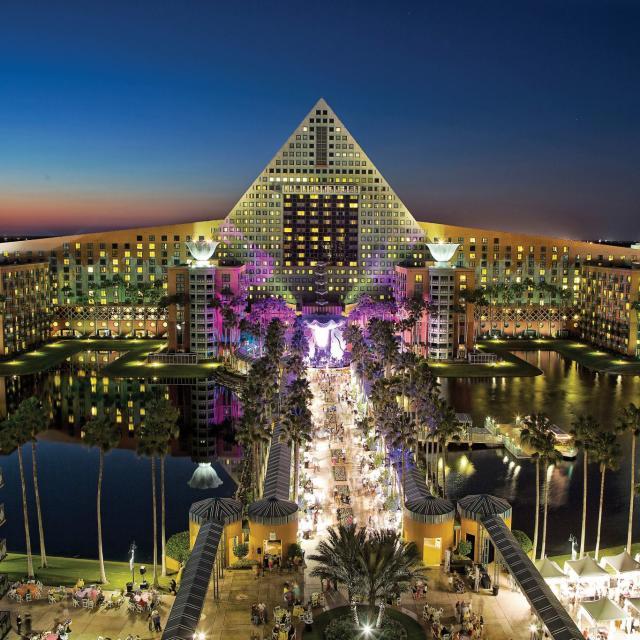 Walt Disney World Swan and Dolphin Resort exterior at night