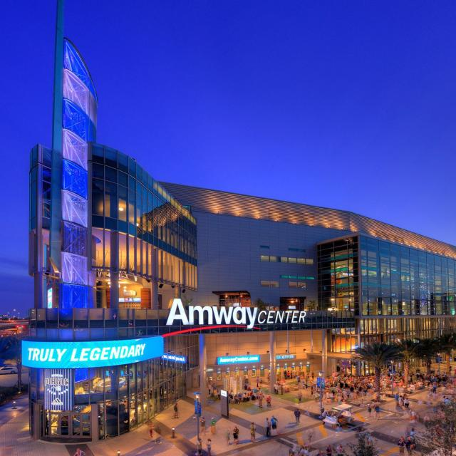 Exterior of the Amway Center at night