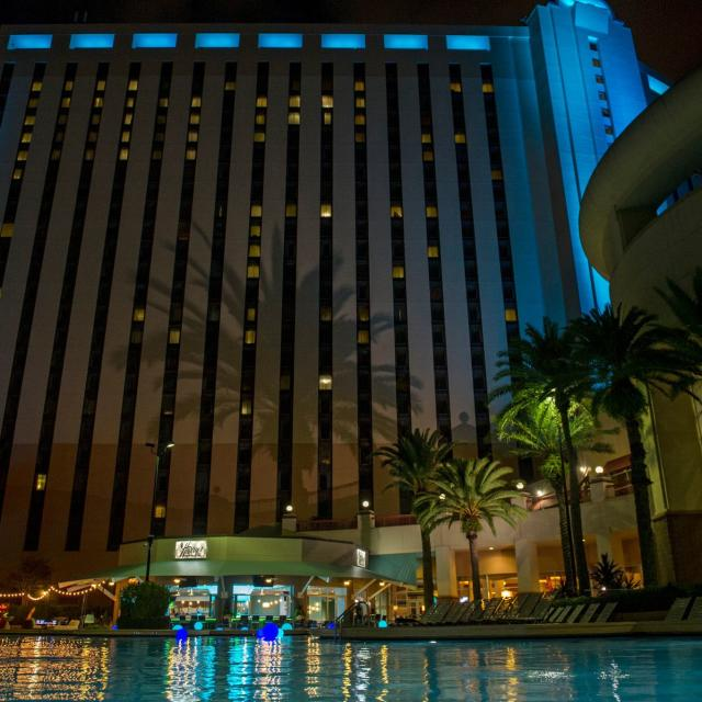 Rosen Centre Hotel view of hotel at night from pool
