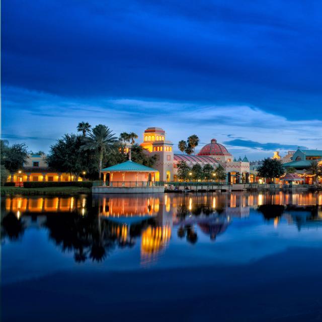 Disney's Coronado Springs Resort exterior at night