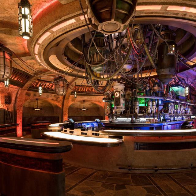 """When guests visit Star Wars: Galaxy's Edge at Disneyland Park in California and opening Aug. 29, 2019, at Disney's Hollywood Studios in Florida, they'll find Oga's Cantina – a local watering hole where galactic travelers unwind, conduct business and maybe even encounter a friend. Patrons of the cantina can sample the famous concoctions created with exotic ingredients using """"otherworldly"""" methods. (David Roark, photographer)"""