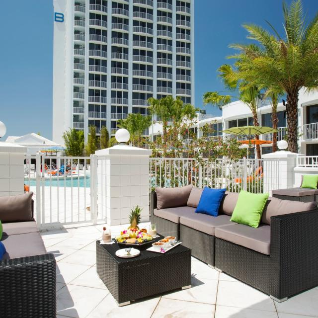 B Resort & Spa seating area  outside pool area