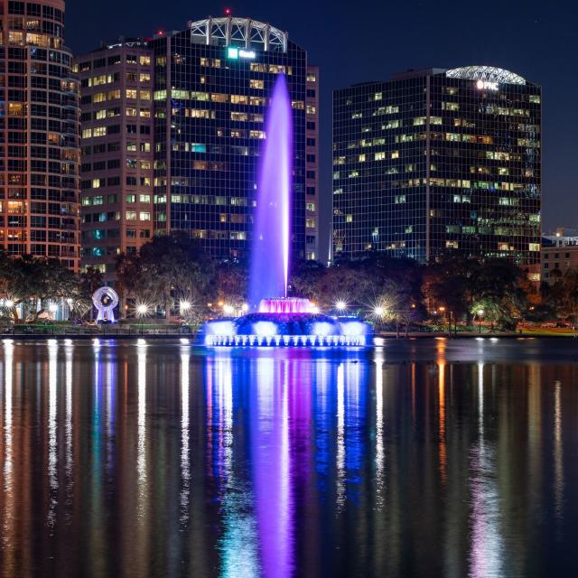 The fountain at Lake Eola in Downtown Orlando at night