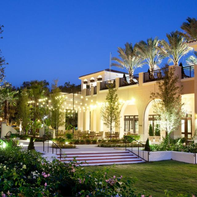The Alfond Inn exterior with lights during evening