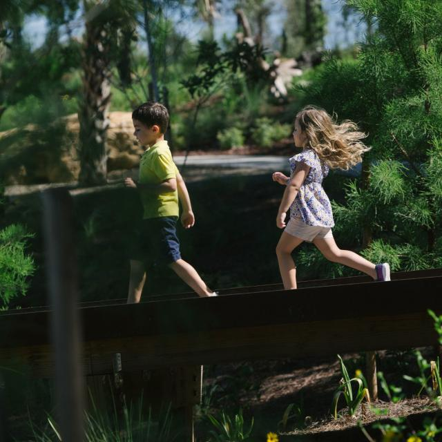 Bok Tower Gardens boy and girl in Children's Garden