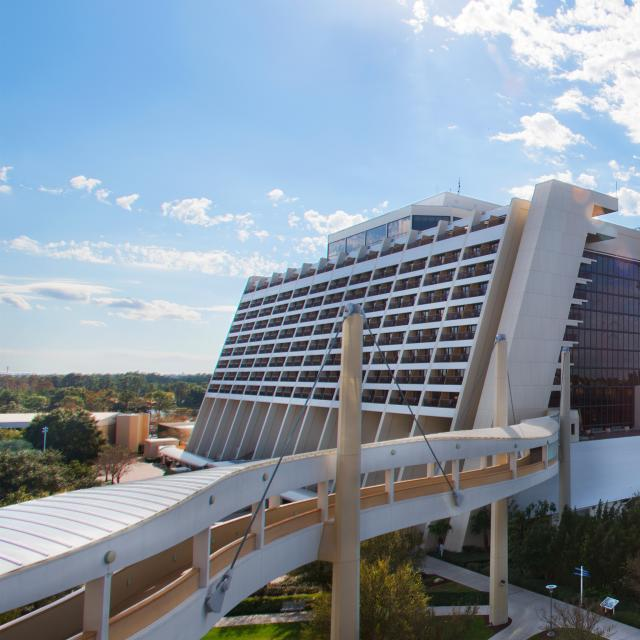 Disney's Contemporary Resort hotel exterior with monorail
