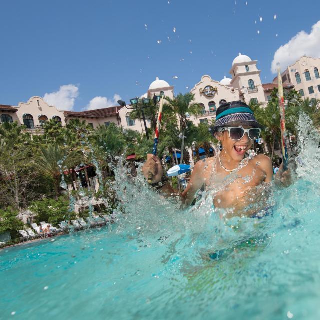 Hard Rock Hotel at Universal Orlando boy in a swimming pool